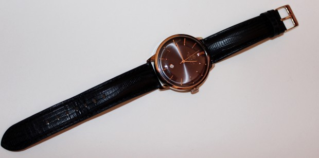 Accurist Rose Gold and Black Leather